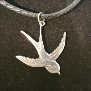 Rockabilly sterling sparrow on Brighton leather
